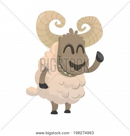 Funny cartoon sheep icon. Vector illustration of a fluffy sheep character mascot waving hand. Great for print sticker or illustration