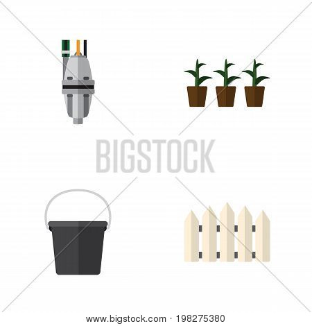 Flat Icon Dacha Set Of Pump, Wooden Barrier, Flowerpot And Other Vector Objects