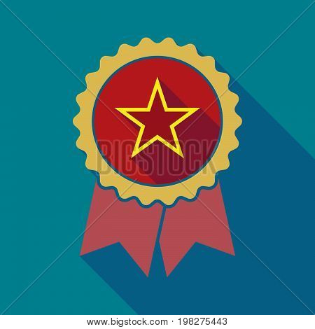 Long Shadow Badge With  The Red Star Of Communism Icon