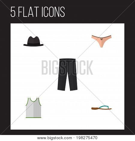 Flat Icon Clothes Set Of Panama, Pants, Lingerie And Other Vector Objects