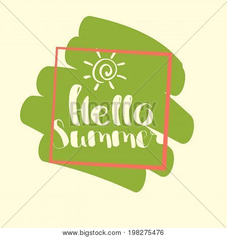 Hello Summer on color blob. Isolated Typographic Design Label. Season Holidays lettering for logoTemplates invitation greeting card prints and posters. Enjoy The Beach party