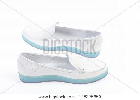 Pair Of Comfortable Female Leather Sports Shoes, Closeup