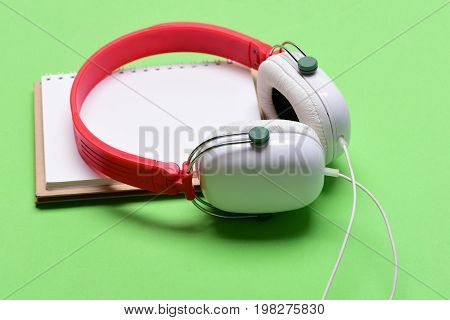 Headset For Music And Blank Page. Modern And Stylish Earphones