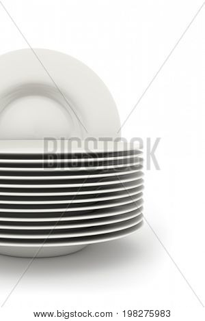 3d rendering of some plates isolated on white
