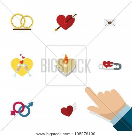 Flat Icon Amour Set Of Closed, Fire Wax, Sexuality Symbol And Other Vector Objects