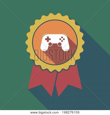 Long Shadow Badge With  A Game Pad
