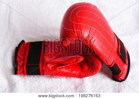 Concept Of Competition With Pair Of Red Gloves For Boxing