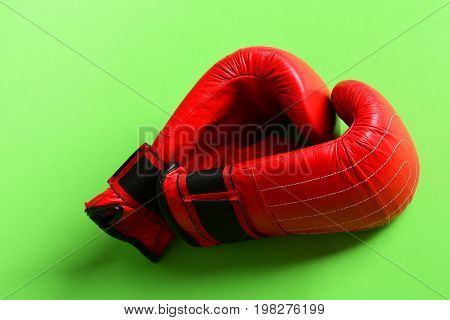 Sport Equipment Isolated On Bright Green Background. Boxing Gloves