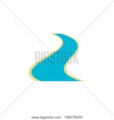 Tributary Vector Element Can Be Used For Estuary, River, Tributary Design Concept.  Isolated River Flat Icon.