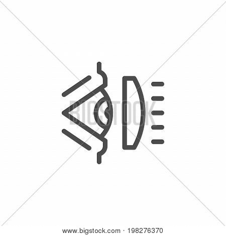 Ophthalmic scheme line icon isolated on white. Vector illustration