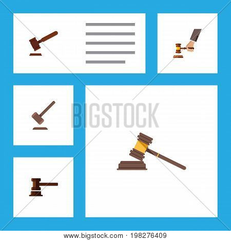 Flat Icon Hammer Set Of Tribunal, Crime, Government Building And Other Vector Objects