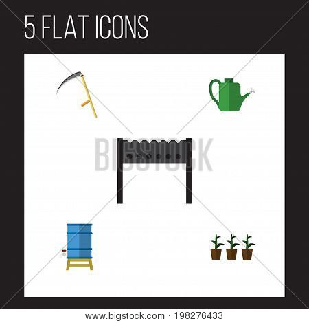 Flat Icon Farm Set Of Container, Cutter, Bailer And Other Vector Objects