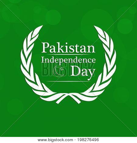 illustration of star and moon with Pakistan Independence day text on the occasion of Pakistan Independence day