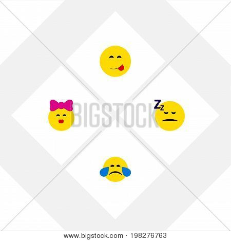 Flat Icon Gesture Set Of Caress, Asleep, Delicious Food And Other Vector Objects