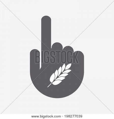 Isolated Touching Hand With  A Wheat Plant Icon