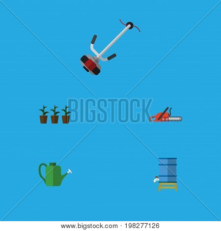 Flat Icon Garden Set Of Container, Flowerpot, Hacksaw And Other Vector Objects
