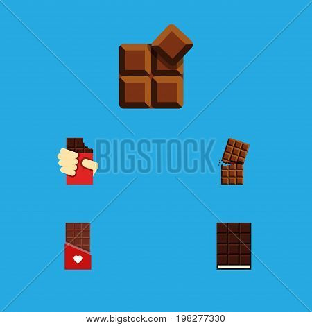 Flat Icon Bitter Set Of Dessert, Shaped Box, Cocoa And Other Vector Objects
