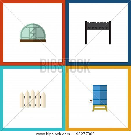Flat Icon Dacha Set Of Wooden Barrier, Container, Barbecue And Other Vector Objects