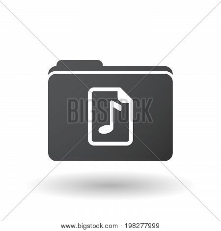 Isolated Folder With  A Music Score Icon