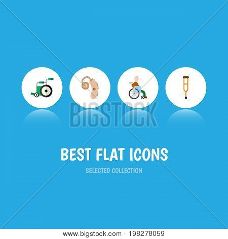 Flat Icon Cripple Set Of Equipment, Audiology, Stand Vector Objects