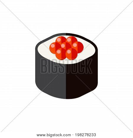 Japanese Food Vector Element Can Be Used For Japanese, Food, Rolls Design Concept.  Isolated Seafood Flat Icon.