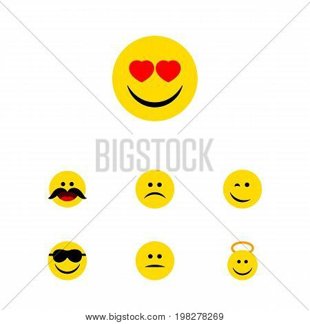 Flat Icon Gesture Set Of Displeased, Winking, Sad And Other Vector Objects