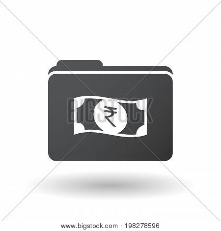 Isolated Folder With  A Rupee Bank Note Icon
