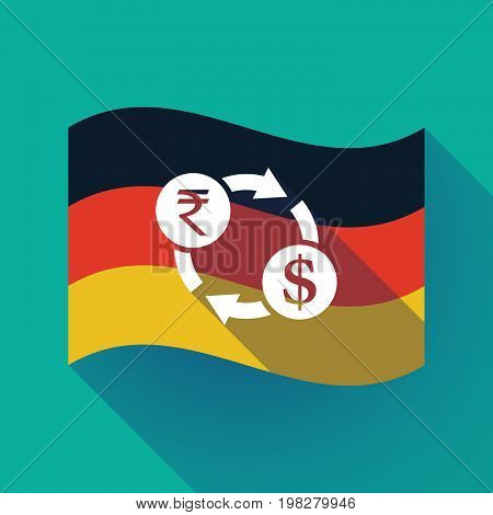 Long Shadow Germany Flag With  A Rupee And Dollar Exchange Sign