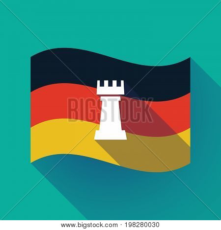 Long Shadow Germany Flag With A  Rook   Chess Figure