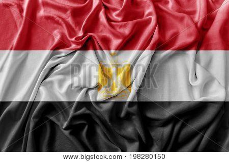Ruffled waving Egypt flag national flag close