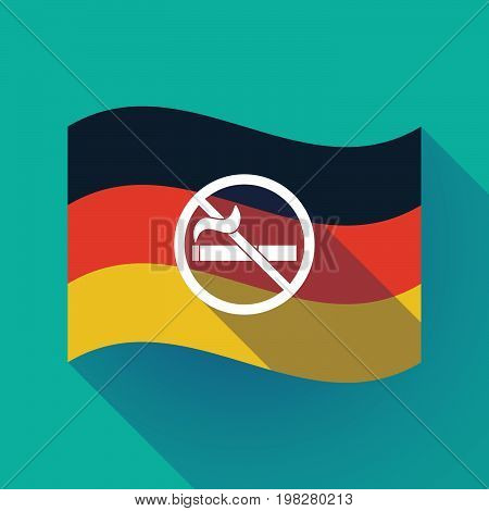 Long Shadow Germany Flag With  A No Smoking Sign