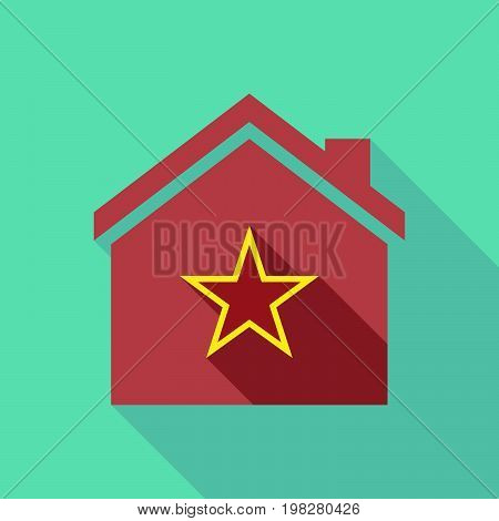 Long Shadow House With  The Red Star Of Communism Icon