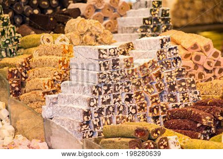 Load of traditional turkish delight rahat lokum poster