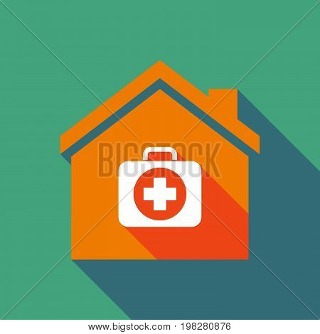 Long Shadow House With  A First Aid Kit Icon