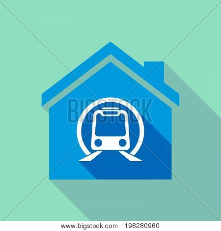 Long Shadow House With  A Subway Train Icon