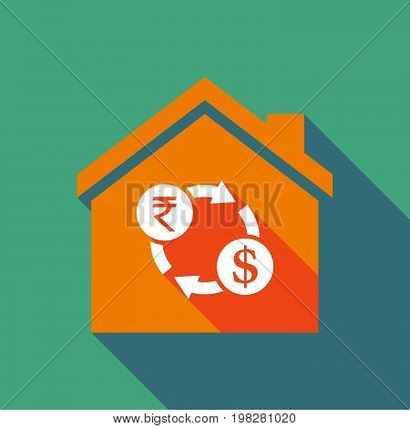 Long Shadow House With  A Rupee And Dollar Exchange Sign