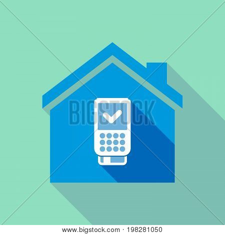 Long Shadow House With  A Dataphone Icon