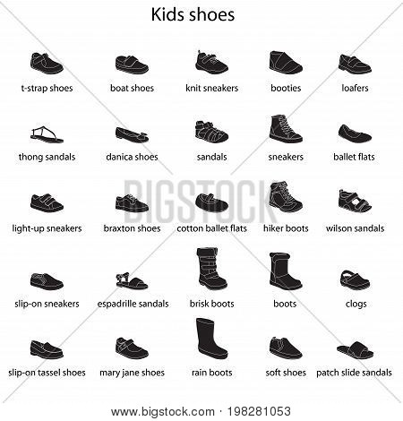 Kids shoes, set, collection of fashion footwear with names. Baby, girl, boy, child, childhood. Vector design isolated illustration. White outlines, black silhouettes, white background
