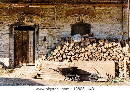 Very Old Brick Wall With Wooden Door