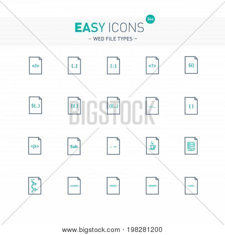 Vector thin line flat design icons set for web file types and web programming theme
