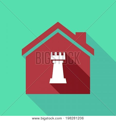 Long Shadow House With A  Rook   Chess Figure