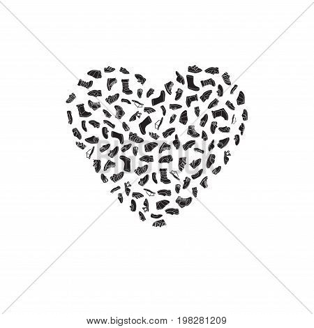 Kids shoes, set, collection of fashion footwear, poster in shape of heart. Baby, girl, boy, child, childhood. Vector design isolated illustration. White outlines, black silhouettes, white background