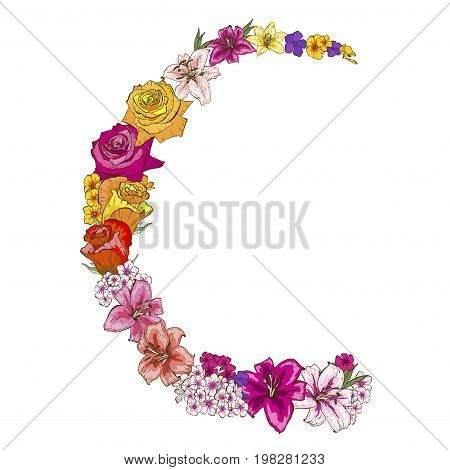 Half round floral frame of colorfull flowers. Roses lilies pansies phloxes Vector