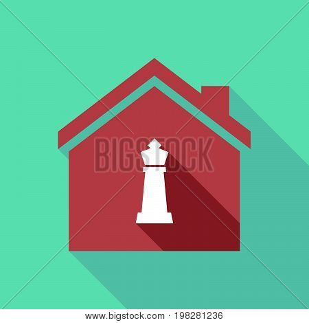 Long Shadow House With A  King   Chess Figure