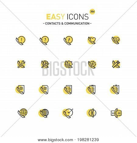 Vector thin line flat design icons set for contact theme