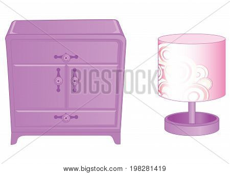 Curbstone and table lamp. Elegant furniture in rich pink colors isolated on white background. Vector