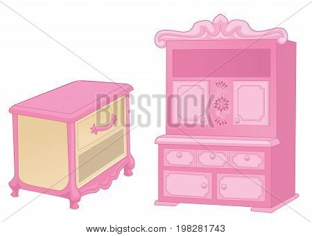 Curbstone and cupboard. Elegant furniture in rich pink colors isolated on white background. Vector