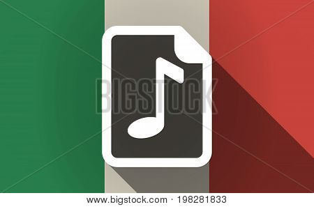 Long Shadow Italy Flag With  A Music Score Icon