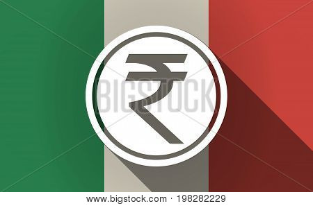 Long Shadow Italy Flag With  A Rupee Coin Icon