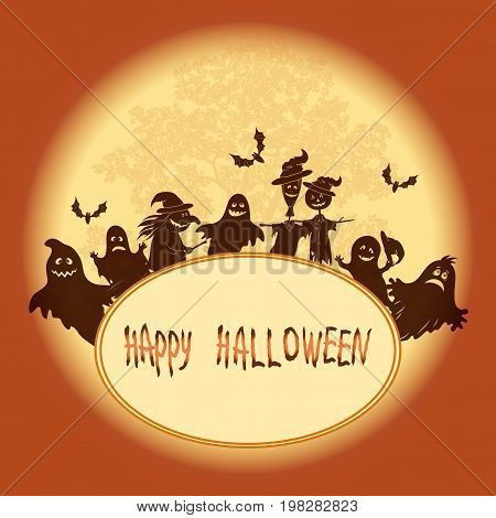Background for Holiday Halloween Design, Cartoon Ghosts, Witch, Scarecrows and Bats Against the Moon and Tree, Silhouettes. Vector